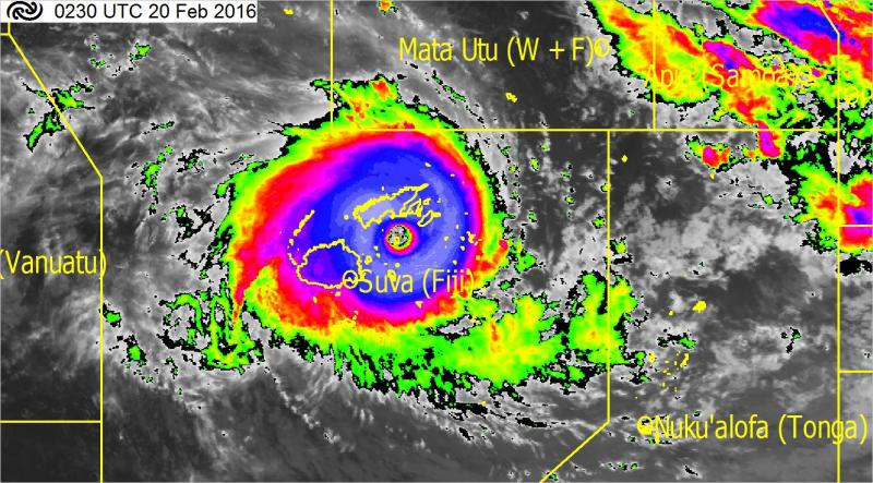 Severe Tropical Cyclone Winston as it approached landfall on Viti Levu on Sat Feb 20, 2016
