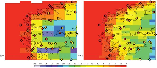 Twelve-hour ensemble control forecasts of 2-metre temperature for a coastal area