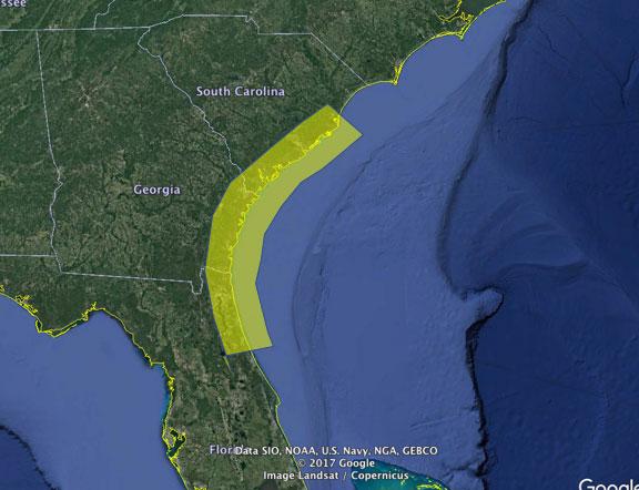 NE Florida, Georgia, South Carolina