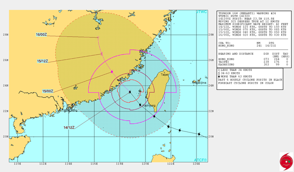 The U S Navy S Joint Typhoon Warning Center Forecasts Super Typhoon Meranti To Track Towards China During The Day On Wednesday