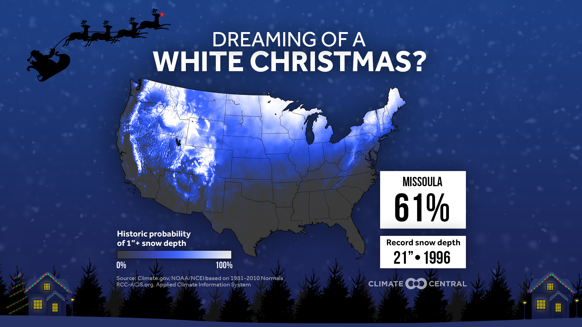 Chance of snow on Christmas in Missoula, Montana