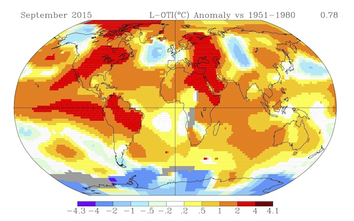 How temperatures around the globe varied from average during September 2015, the second warmest September on record