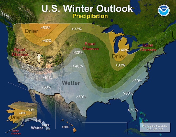 El Nino winter precipitation effects