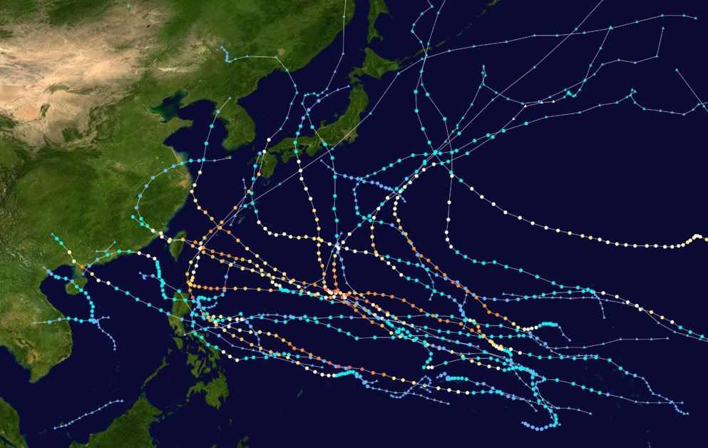 Western Pacific typhoon tracks