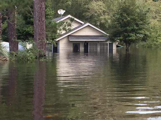 Andrews, South Carolina submerged from flooding