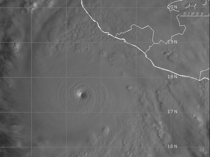 Visible satellite imagery depicts Category 5 Hurricane Patricia approaching western Mexico on Friday