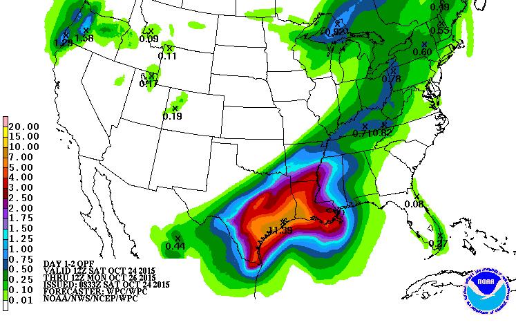 Rainfall forecast Texas