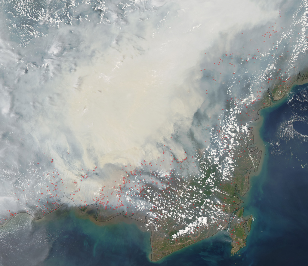Smoke from fires in Borneo, Indonesia on October 19