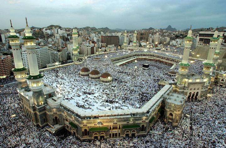 Pilgrims at sunset prayer before the beginning of the hajj in 2007