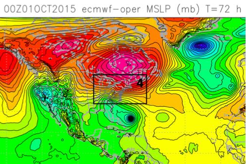 ECMWF model forecast for 1200UTC (8AM EDT) Sun. Oct. 4