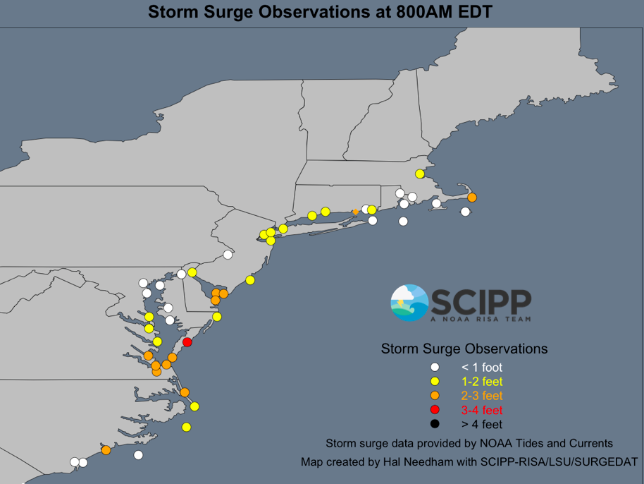 Storm surge levels at 0800AM EDT exceeded 3 ft in Eastern Virginia