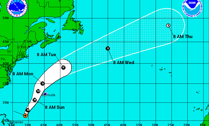 Hurricane Joaquin's track as of 2PM Oct. 3, 2015