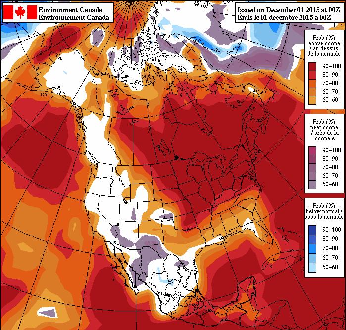 December temperature forecast North America