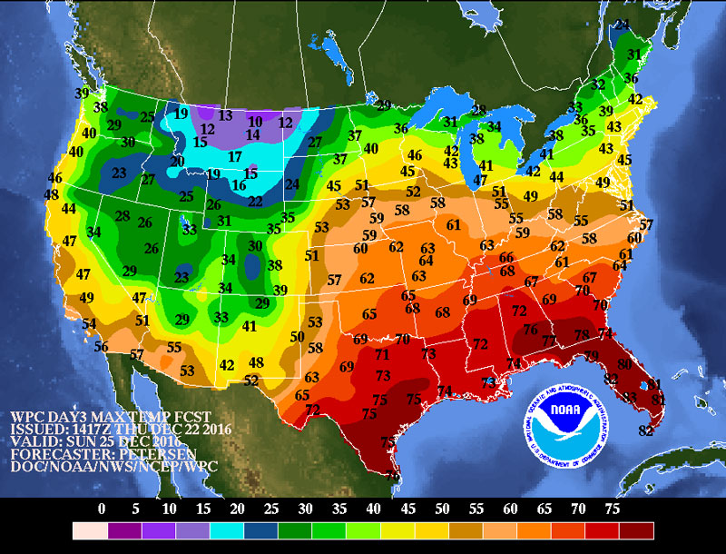 Forecast high temperatures for December 25
