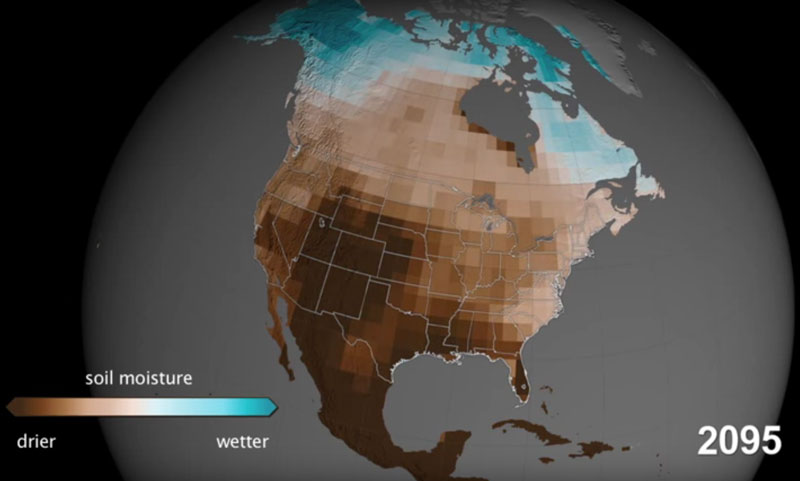Changing drought patterns across the U.S. at the start of each decade through 2095