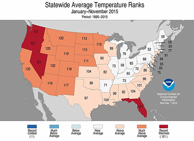 Year-to-date temperatures for each state in the contiguous U.S. through November 2015