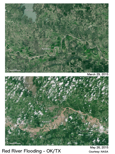 Satellite imagery of Red River flooding in spring 2015