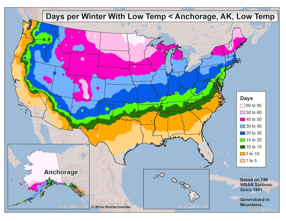 Low temps compared to Anchorage