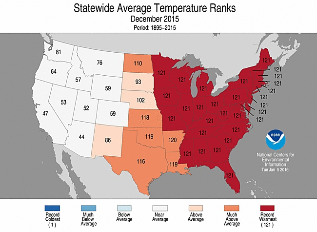 Temperature rankings for each state for December 2015