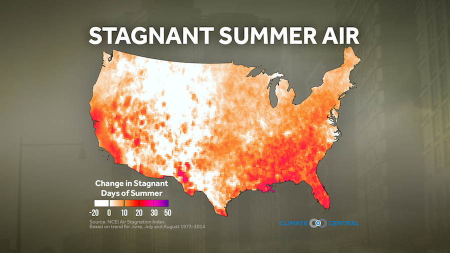 Change in stagnant days of summer across the U.S.