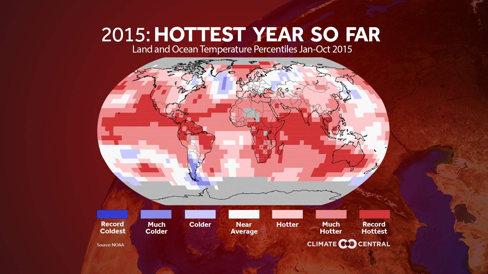 How temperatures across the globe ranked for January - October 2015