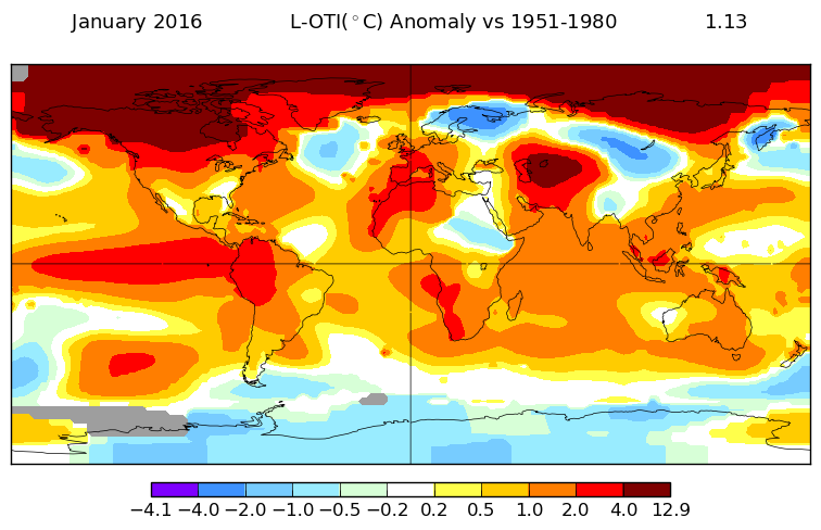 January 2016 temperatures across the globe