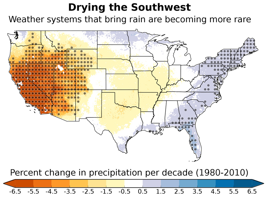 Precipitation across the U.S. that can be attributed to these changes in weather patterns