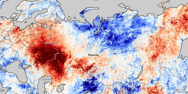 Russian temperature variations in 2010