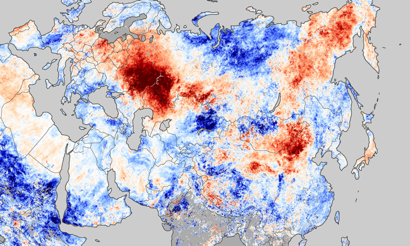 This map shows how much temperatures over Russia varied from normal between July 20-27, 2010.