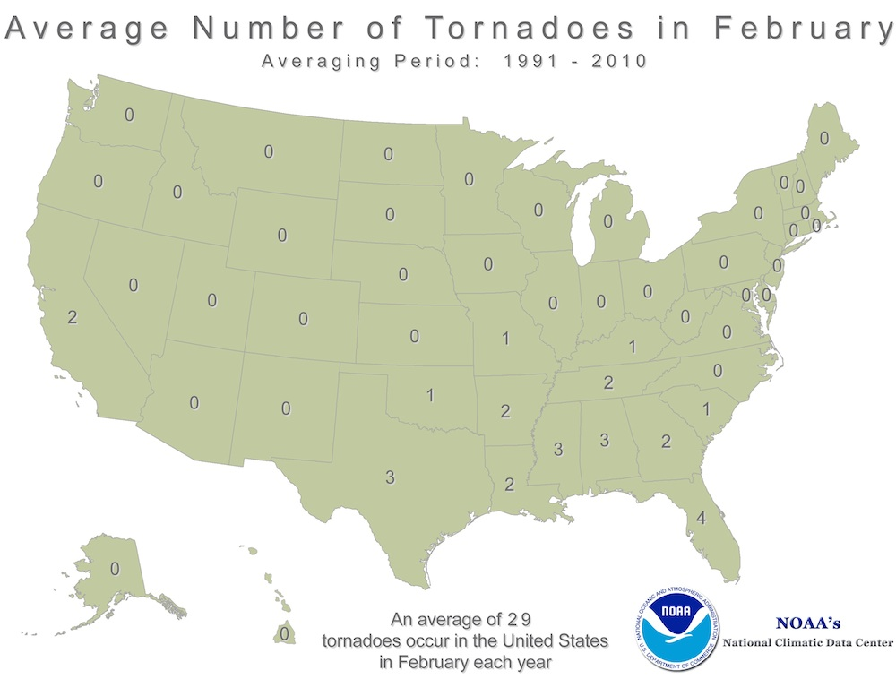 Average February tornadoes