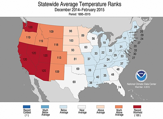Rankings for average winter temperatures for each state in the Lower 48 for the winter of 2014-2015