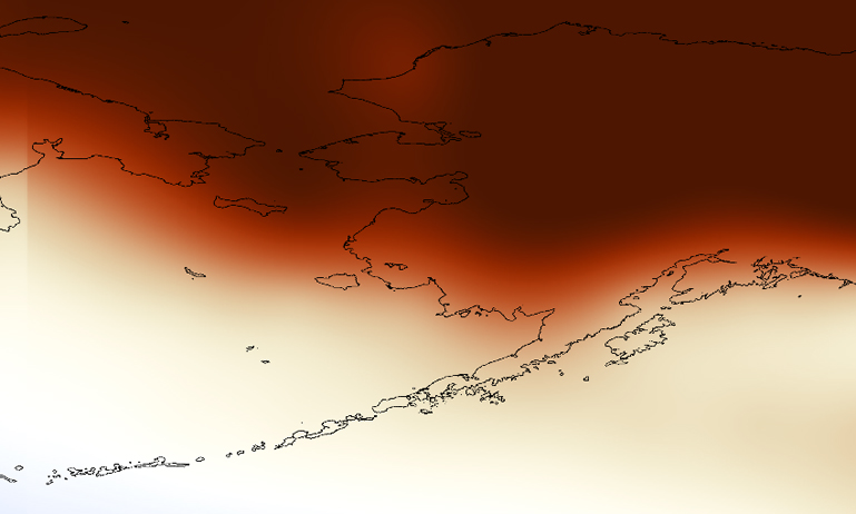 Map of above-average Alaska temperatures
