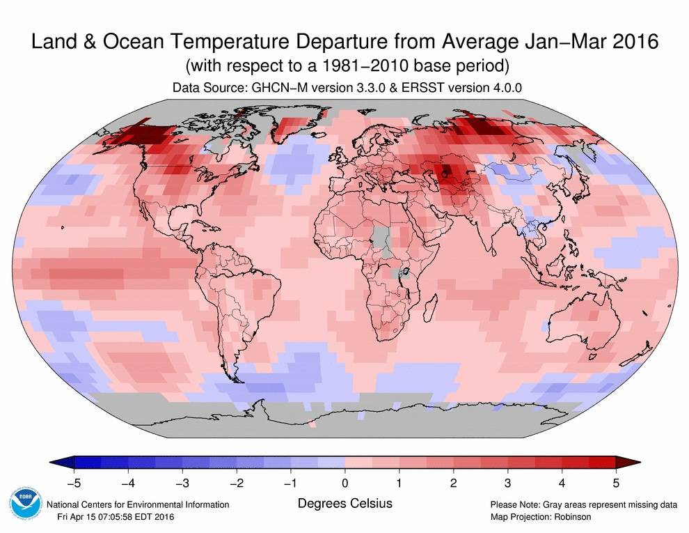 temperature departures from january to march
