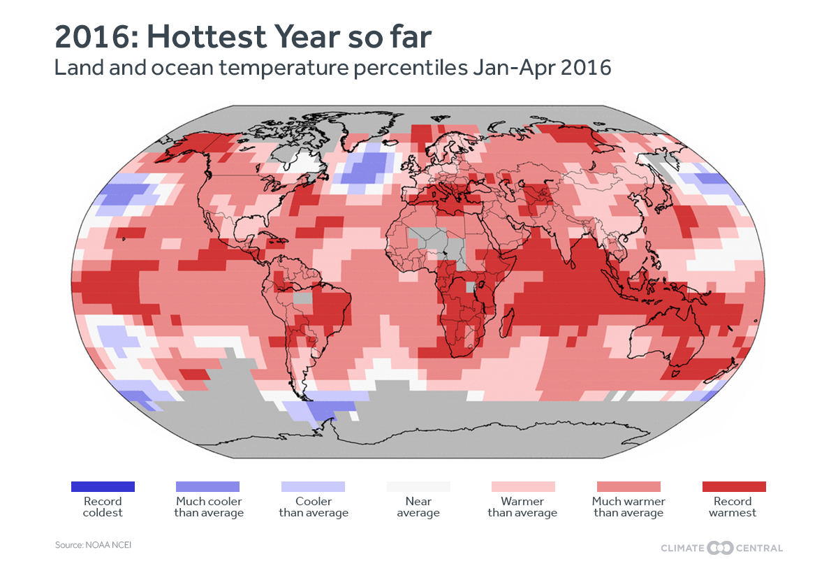 How global temperatures have differed from average so far this year