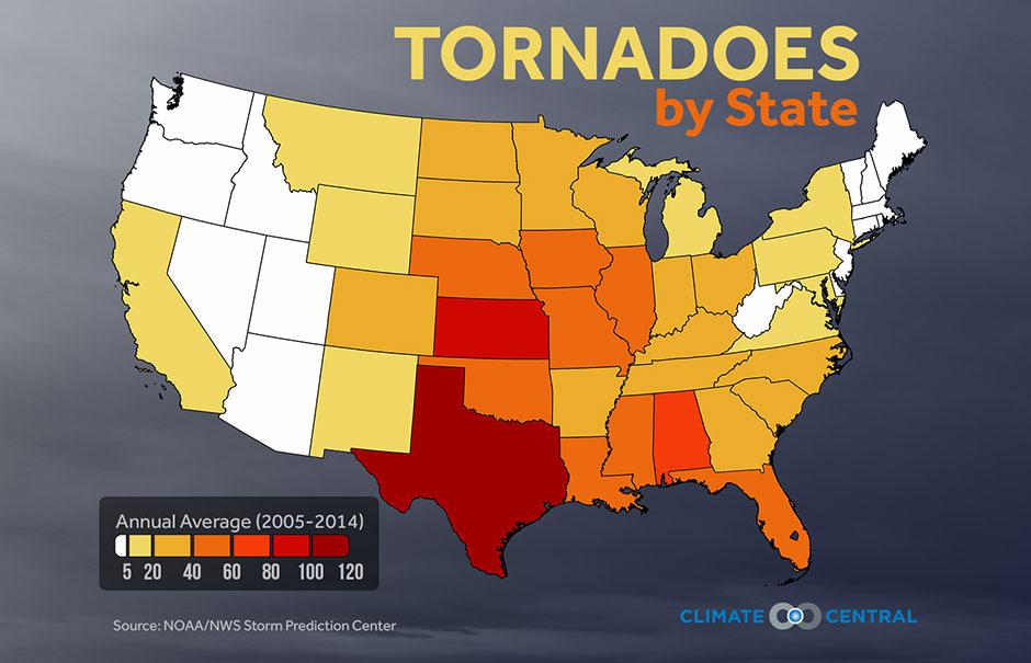 Annual U.S. tornado totals, 2005-2014