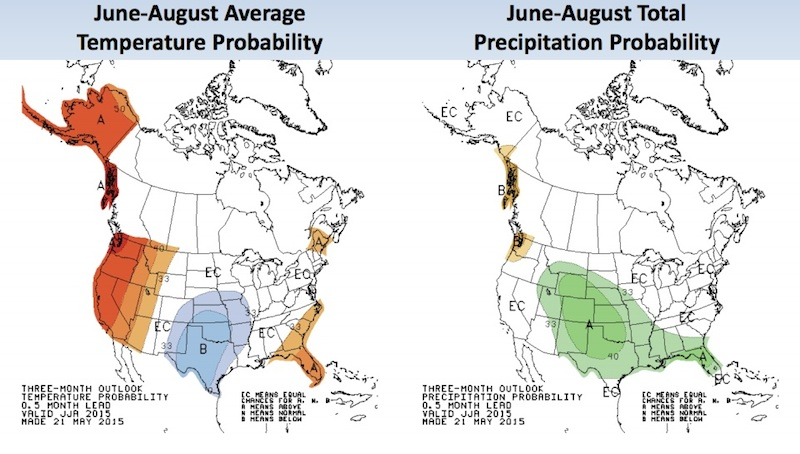 Expected summer temperature and precipitation patterns across the U.S
