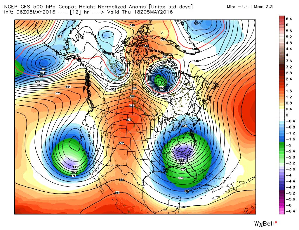 Forecast steering winds Thursday afternoon across North America
