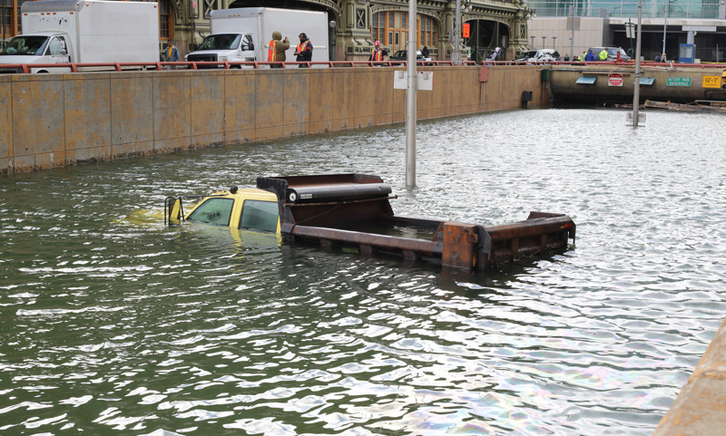 Flooded Battery Park Tunnel in New York City after Hurricane Sandy