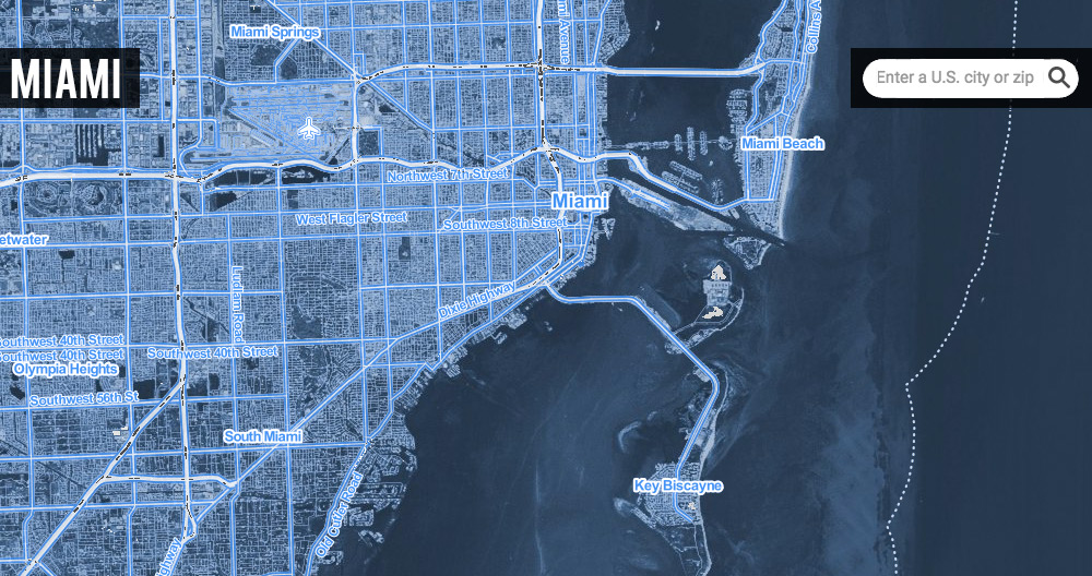 Satellite map of Miami under 20 feet of sea level rise