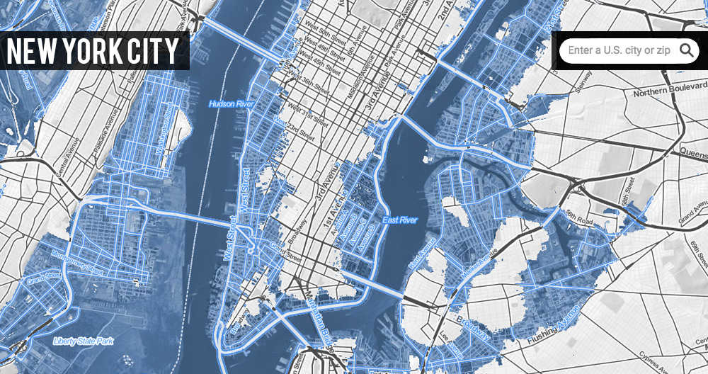 Satellite map of New York City under 20 feet of sea level rise