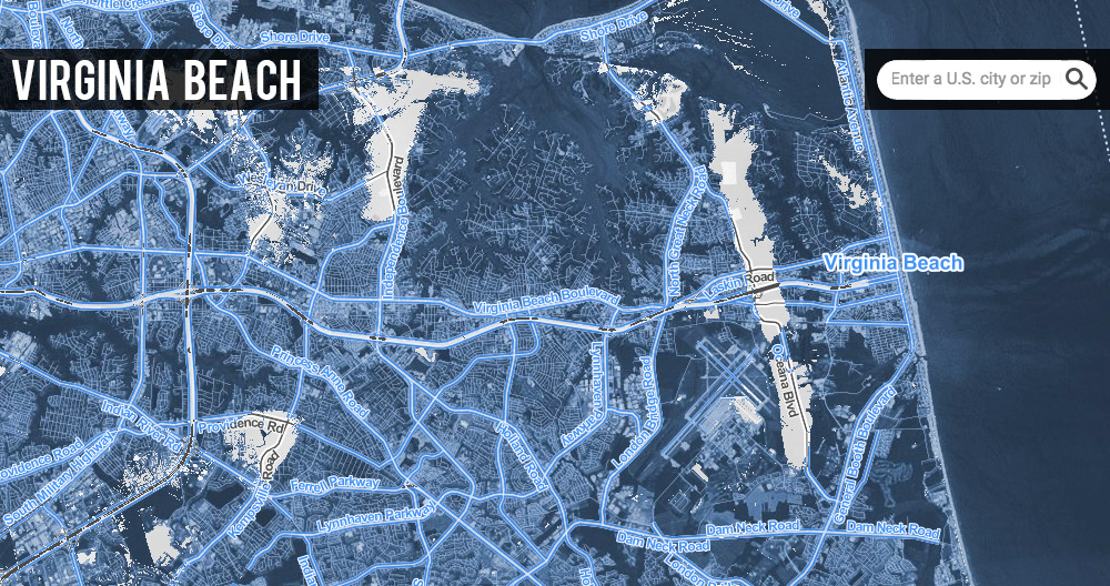 Satellite map of Virginia Beach under 20 feet of sea level rise