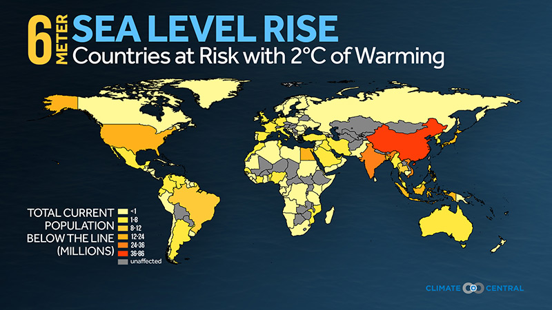 Gloabl Land at Risk with 2°C of Warming