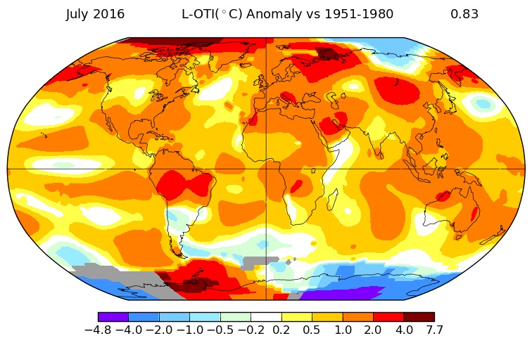 global temperatures in july 2016
