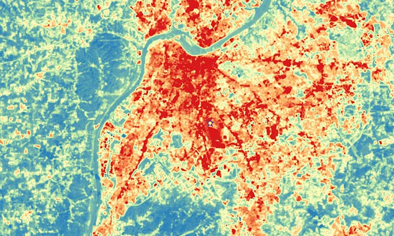 Urban heat measured by satellite in Louisville, Ky