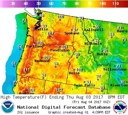 Pacific Northwest temperature forecast