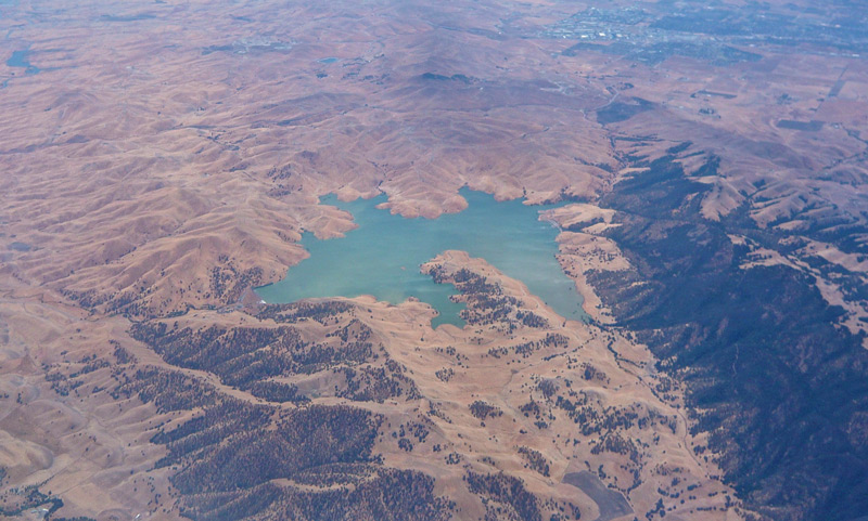 Dwindling water levels at the Los Vaqueros reservoir in California