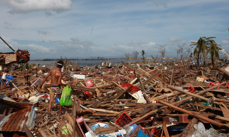 Damage wrought by Typhoon Haiyan's storm surge, November 2013