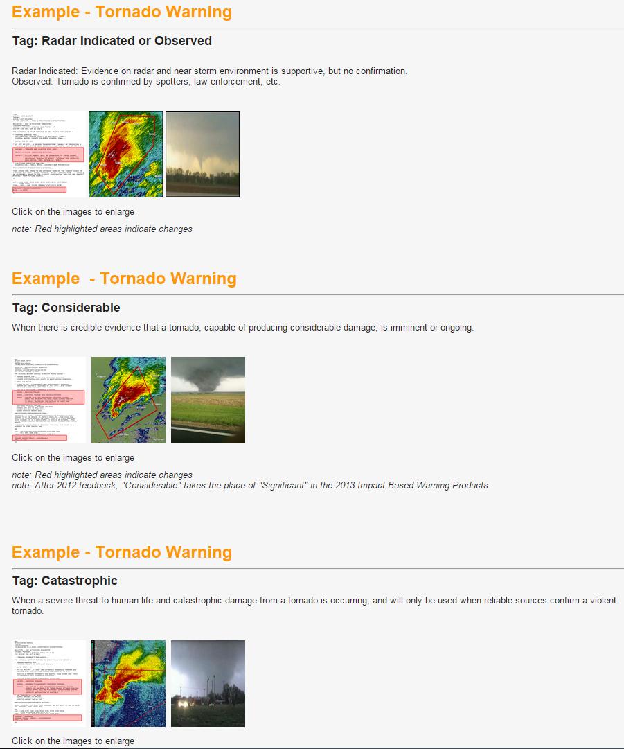 Impact warnings