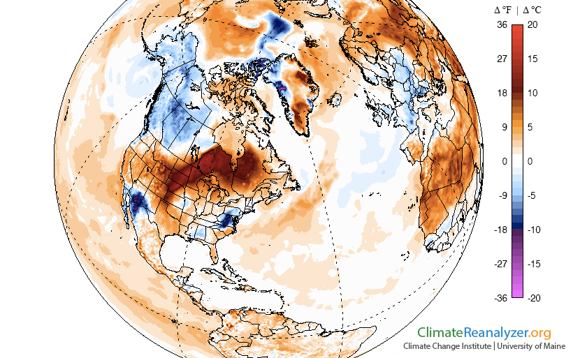 Temperature anomalies on Tuesday, September 22