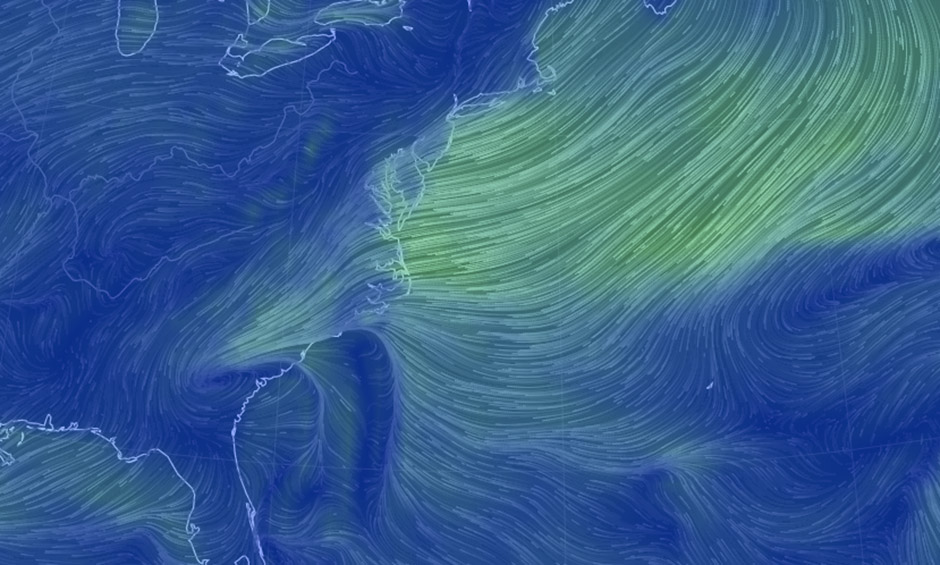 Wind map shows Carolinas Storm